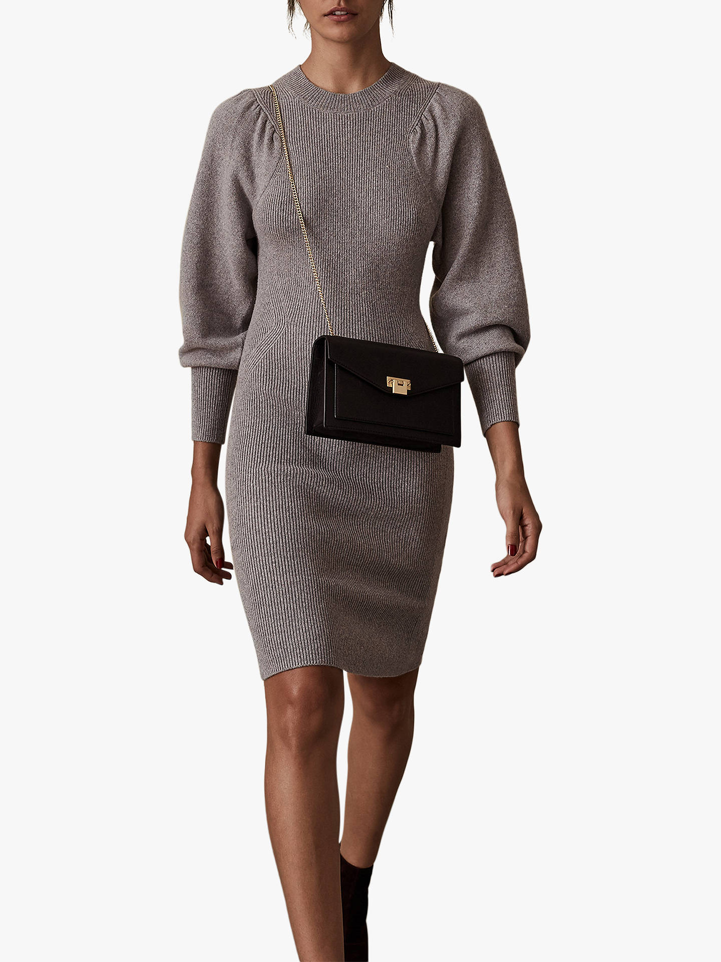 Buy Reiss Nordica Flute Sleeve Dress, Grey Marl, XS Online at johnlewis.com