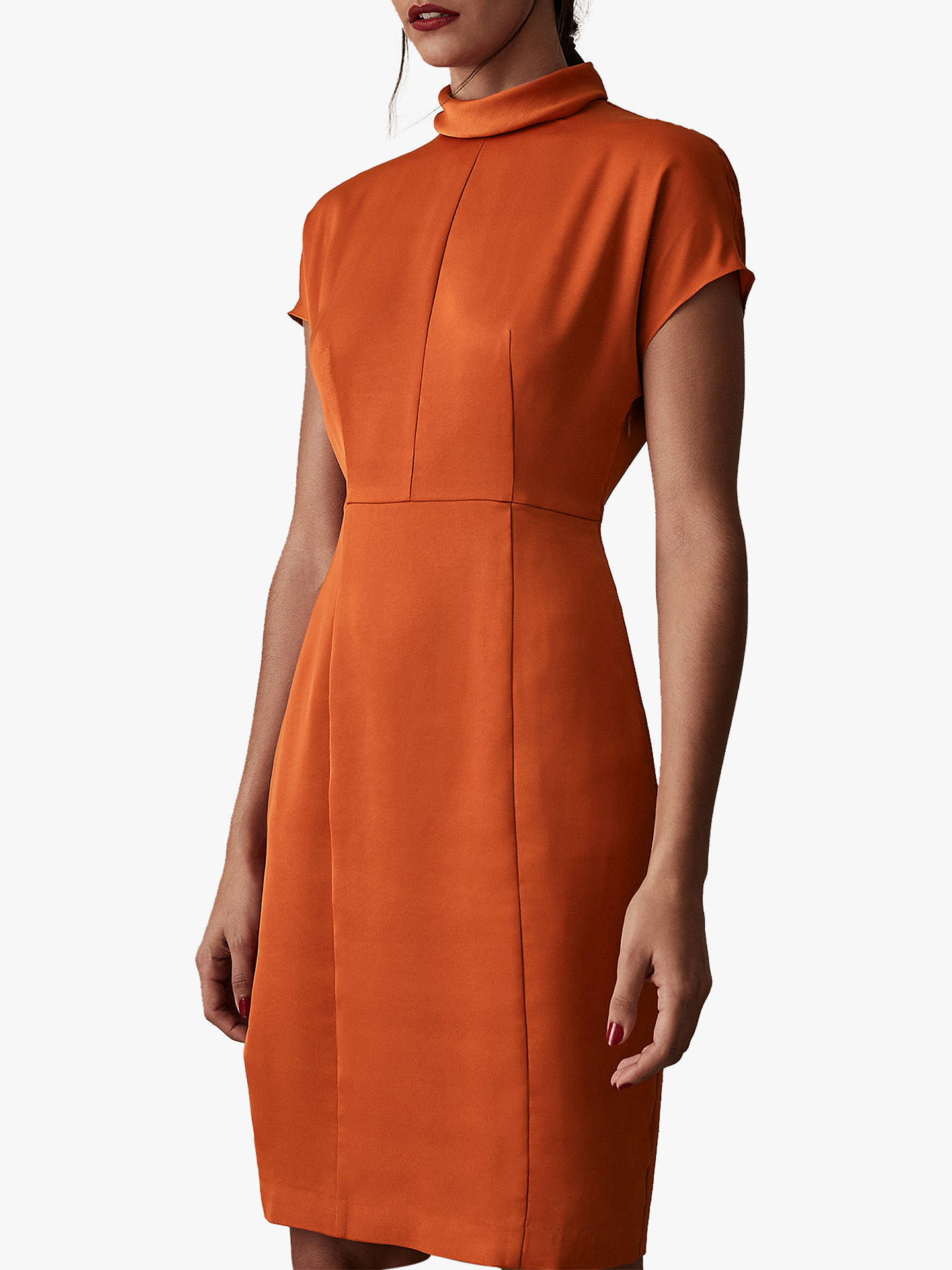 Buy Reiss Rex Satin Fitted Dress, Burnt Orange, 16 Online at johnlewis.com