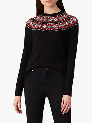Hobbs Georgina Fair Isle Jumper, Black/Multi