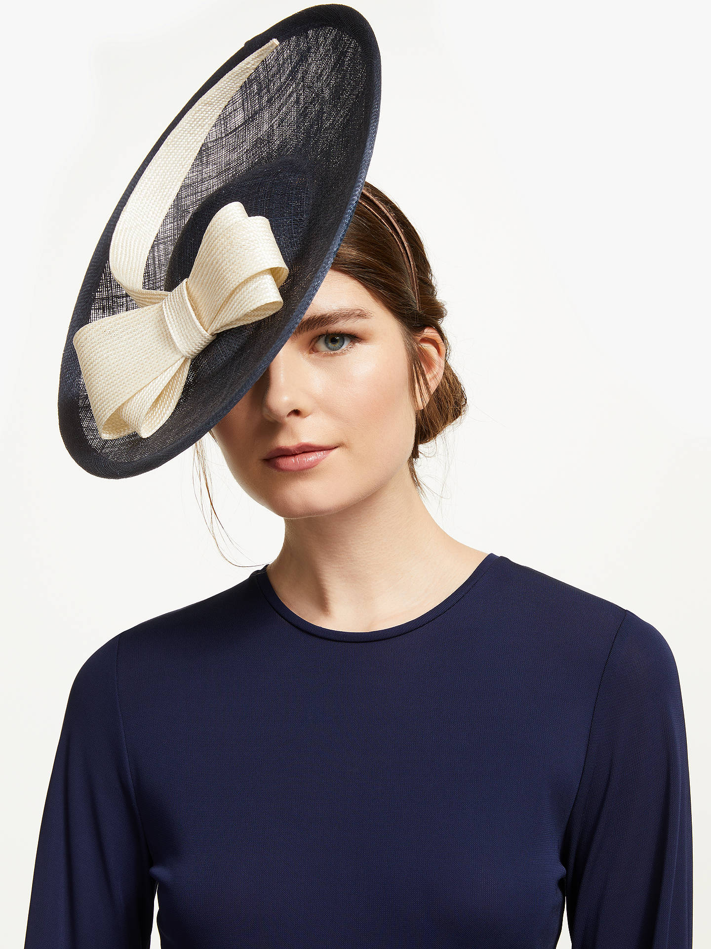 f943bdf3b Whiteley Juliette Double Bow Disc Occasion Hat, Navy/Ivory