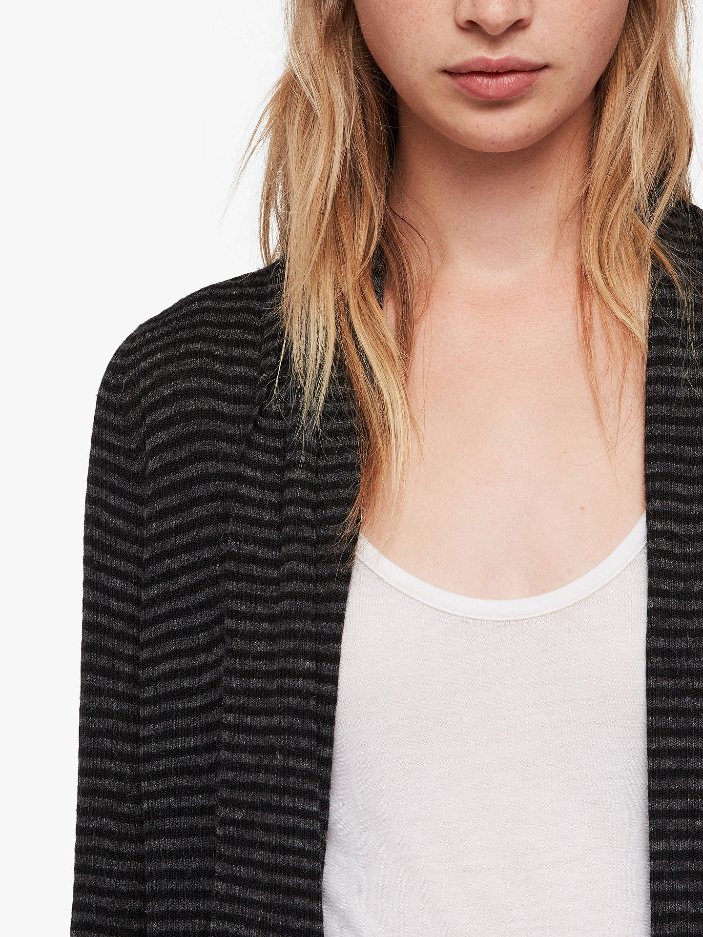 BuyAllSaints Keld Olivo Cardigan, Cinder Black Stripe, L Online at johnlewis.com