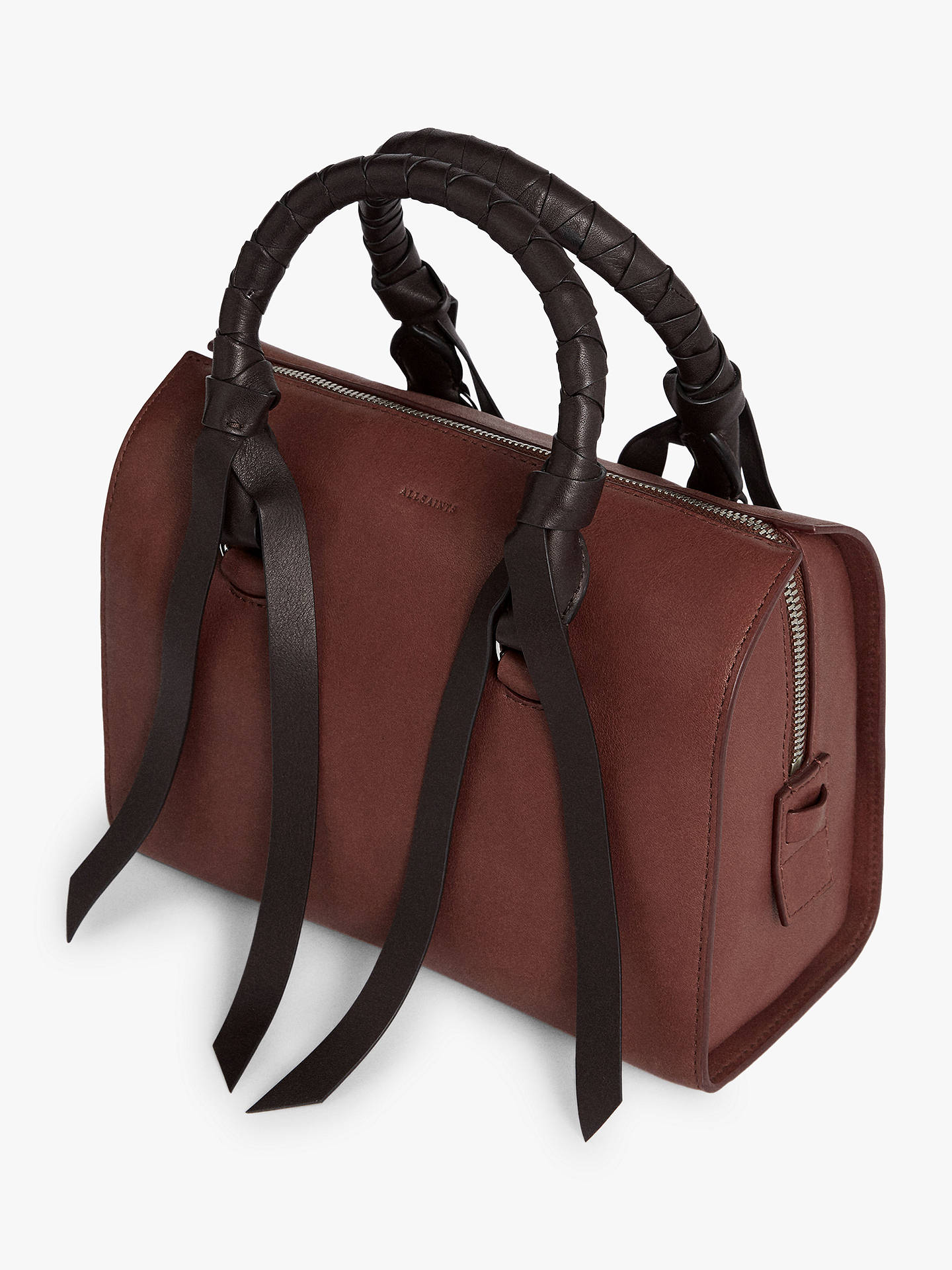 Buy AllSaints Voltaire Small Leather Bowling Bag, Port Burgundy/Black Online at johnlewis.com
