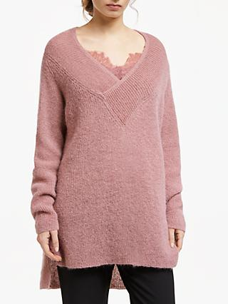Modern Rarity Faux Wrap V-Neck Jumper, Pink