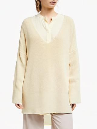 Modern Rarity Contrast Stitch Hem Jumper, Yellow