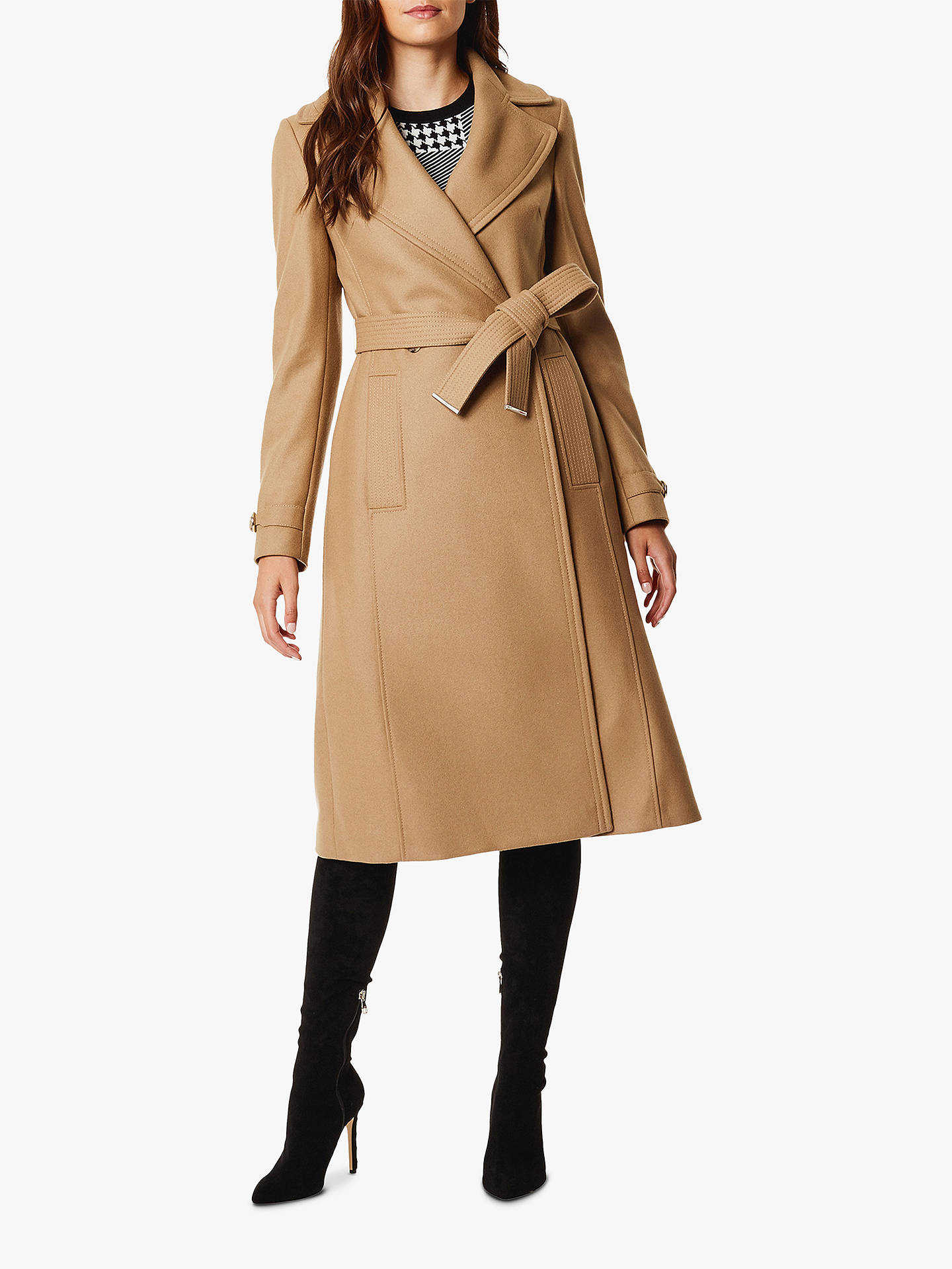 quality clients first high quality Karen Millen Belted Trench Coat, Camel at John Lewis & Partners