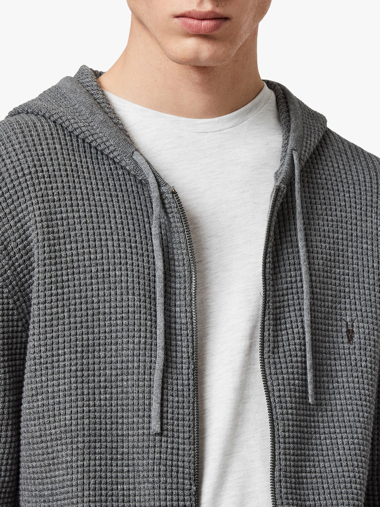 Buy AllSaints Wells Textured Hoodie, Grey Marl, S Online at johnlewis.com