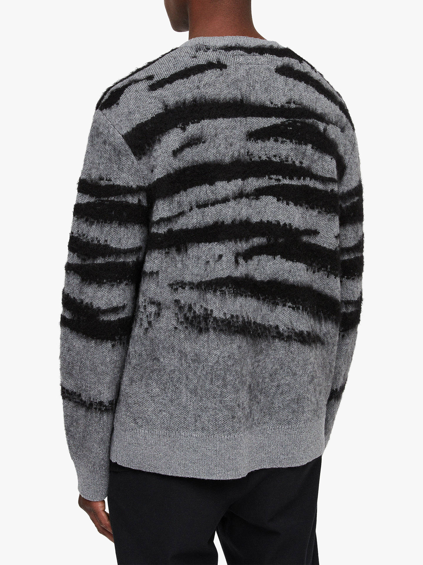 Buy AllSaints Ture Jacquard Camouflage Jumper, Grey Marl/Black, L Online at johnlewis.com