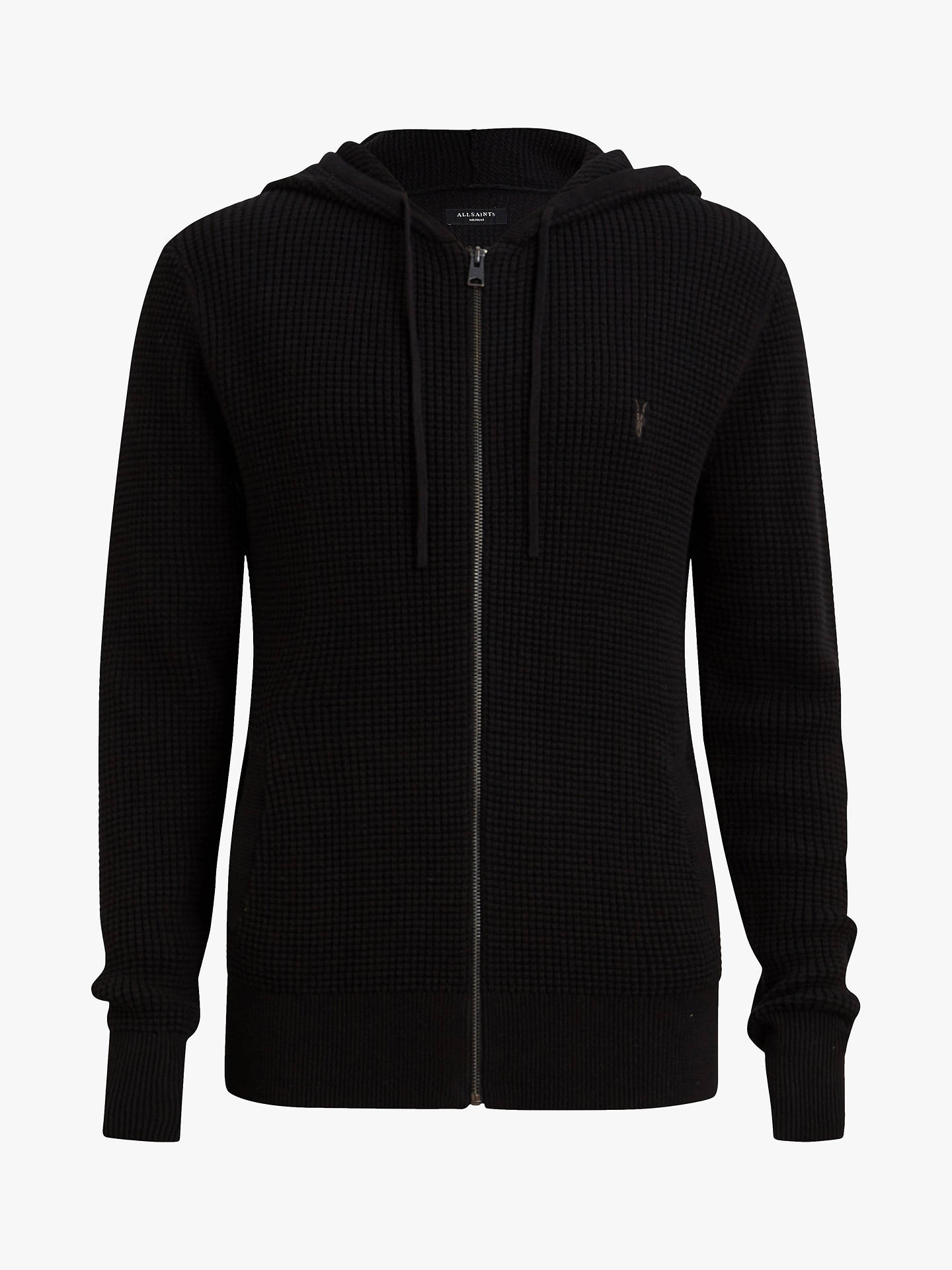 BuyAllSaints Wells Textured Hoodie, Black, L Online at johnlewis.com