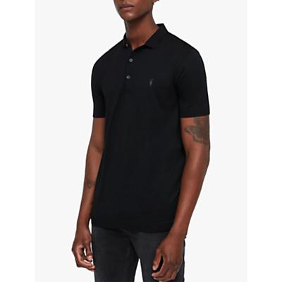Image of AllSaints Parlour Short Sleeve Polo Shirt, Black