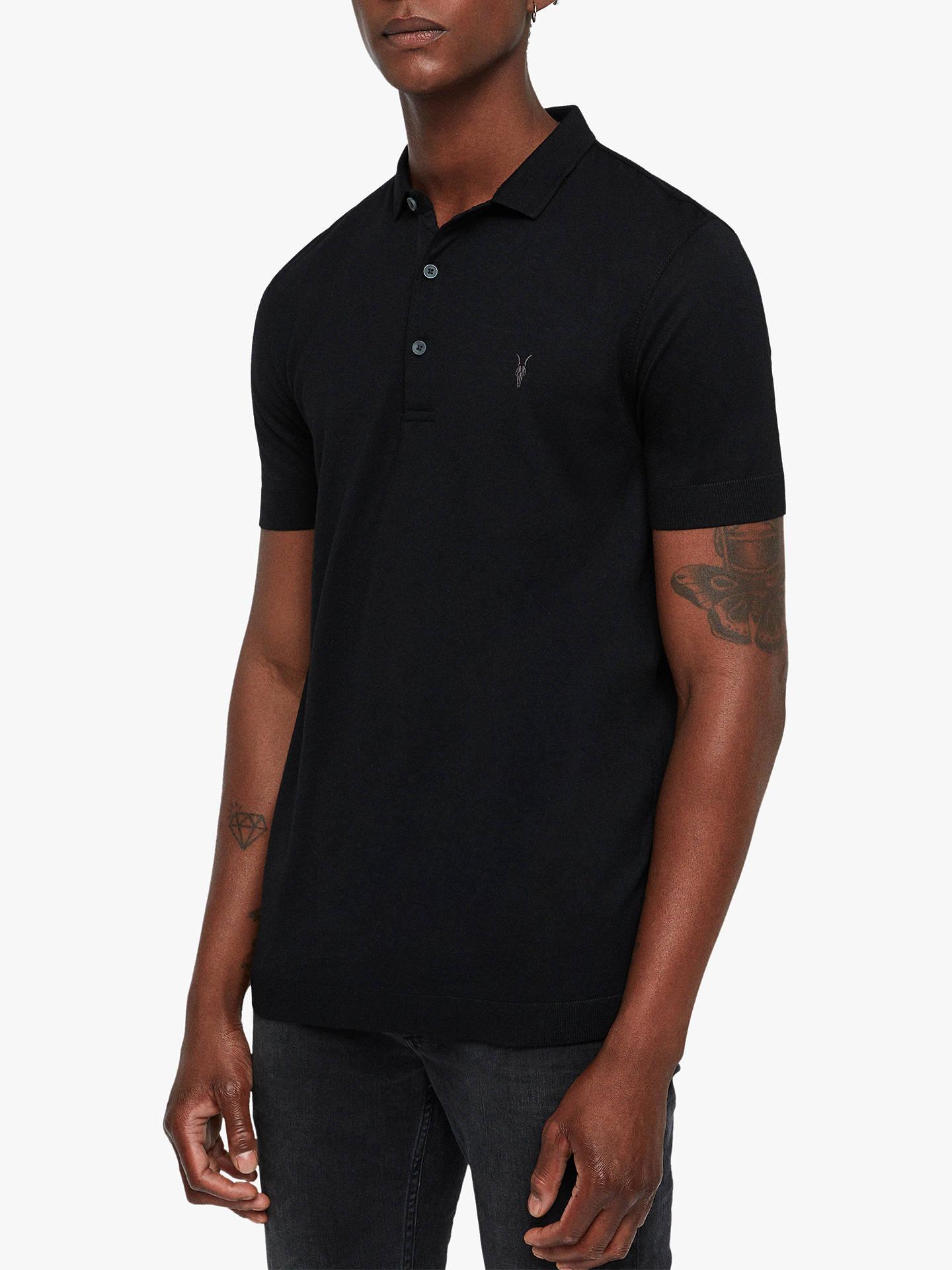 a4ca6854 Buy AllSaints Parlour Short Sleeve Polo Shirt, Black, XS Online at  johnlewis.com ...