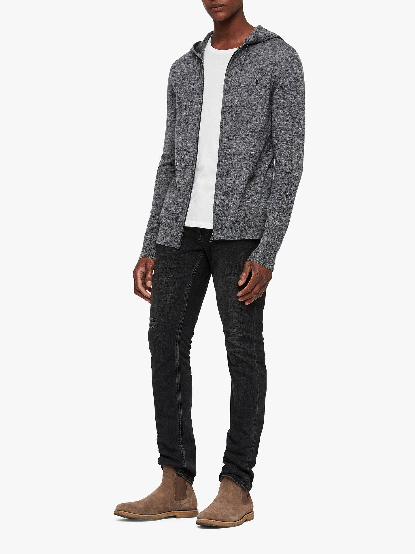 BuyAllSaints Mode Zip Hoodie, Core Grey, XS Online at johnlewis.com