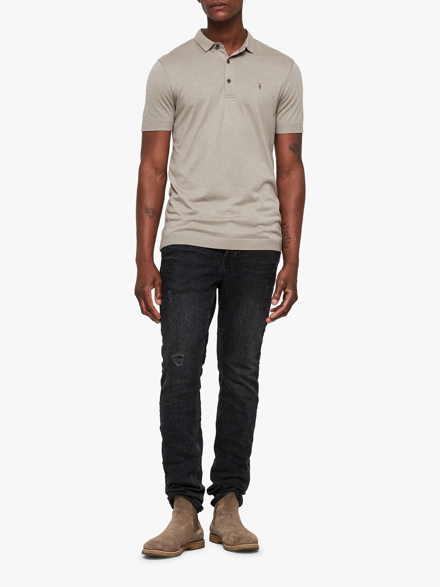 BuyAllSaints Parlour Short Sleeve Polo Shirt, Mine Grey, XS Online at johnlewis.com
