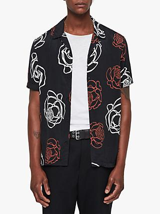 AllSaints Hyogo Abstract Rose Short Sleeve Shirt, Jet Black