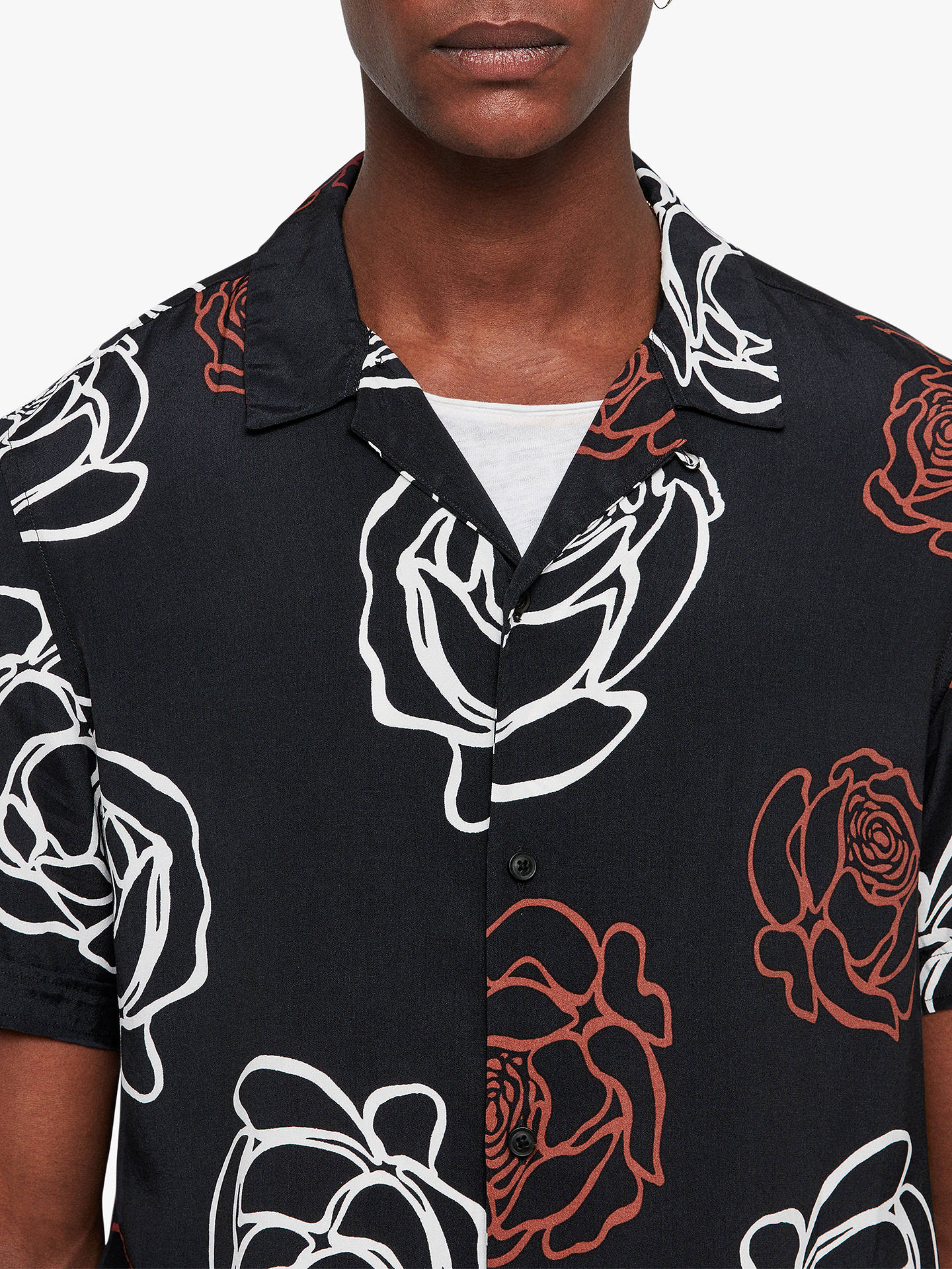 BuyAllSaints Hyogo Abstract Rose Short Sleeve Shirt, Jet Black, L Online at johnlewis.com