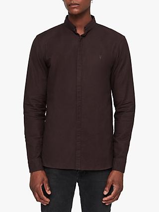 AllSaints Augusta Ramskull Embroidered Shirt, Oxblood Red