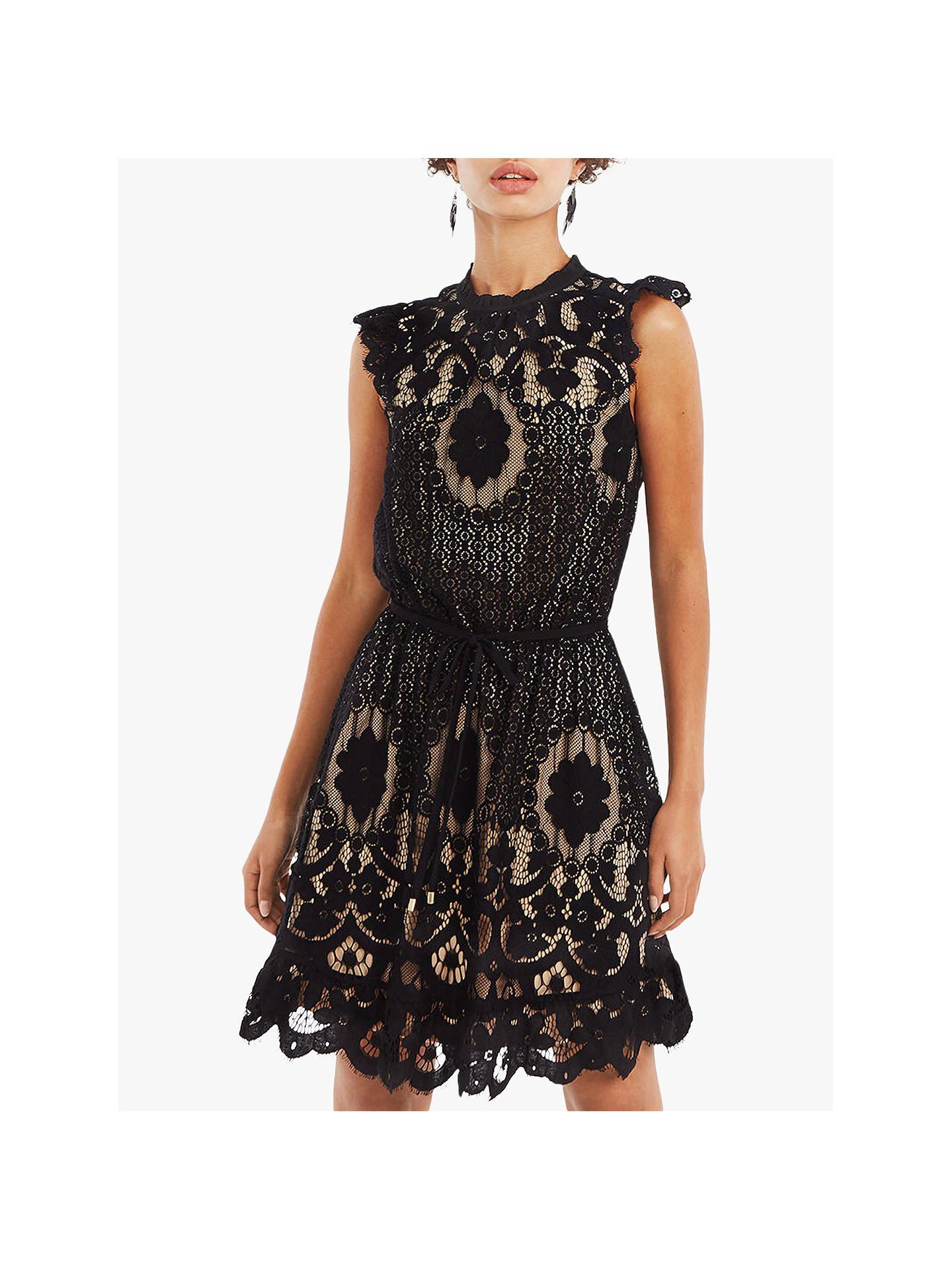 a34674b8a815 Buy Oasis Floral Cut Lace Dress, Black, 6 Online at johnlewis.com ...