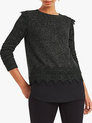 Oasis Lace Insert Cosy Top, Dark Grey