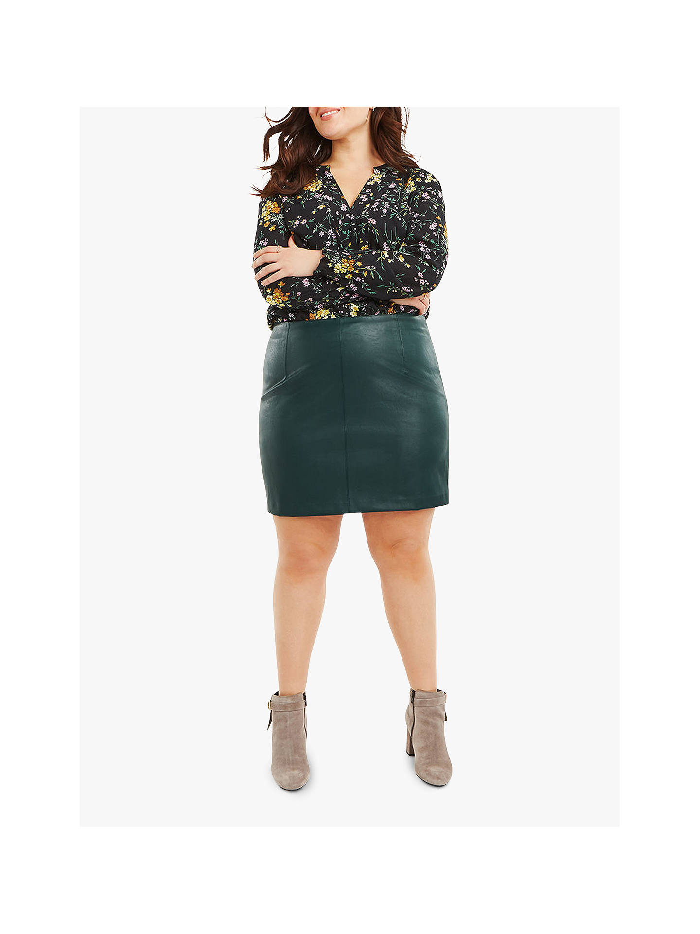 1036efb31 Buy Oasis Curve Faux Leather Mini Curve Skirt, Mid Green, 18 Online at  johnlewis ...