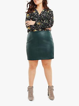 Oasis Curve Faux Leather Mini Curve Skirt, Mid Green
