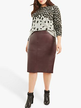 Oasis Curve Faux Leather Pencil Skirt, Burgundy
