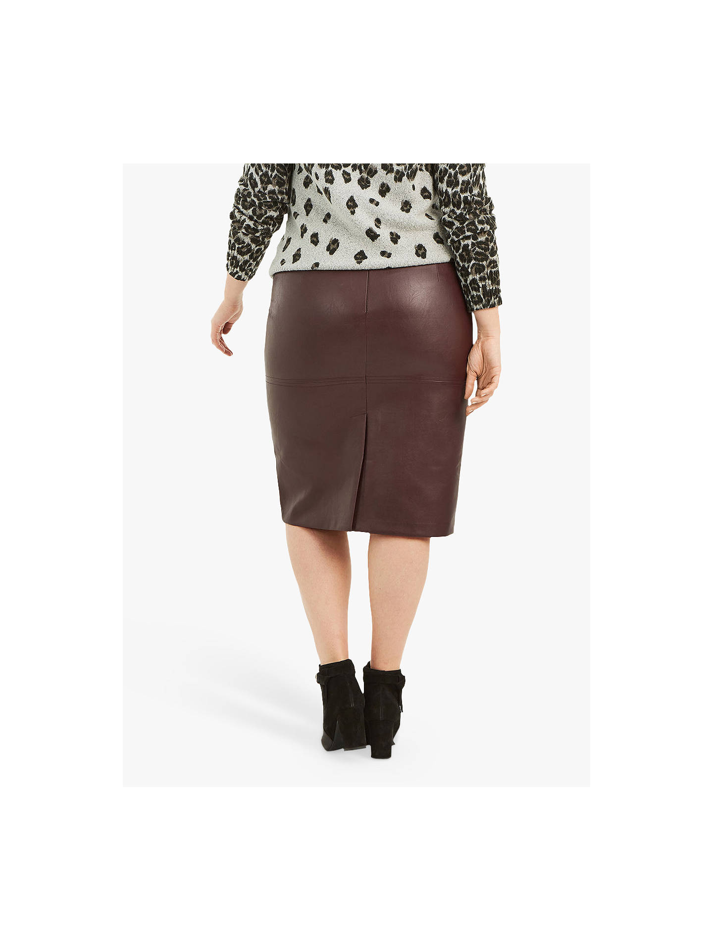 8bd69c657a ... Buy Oasis Curve Faux Leather Pencil Skirt, Burgundy, 18 Online at  johnlewis.com ...