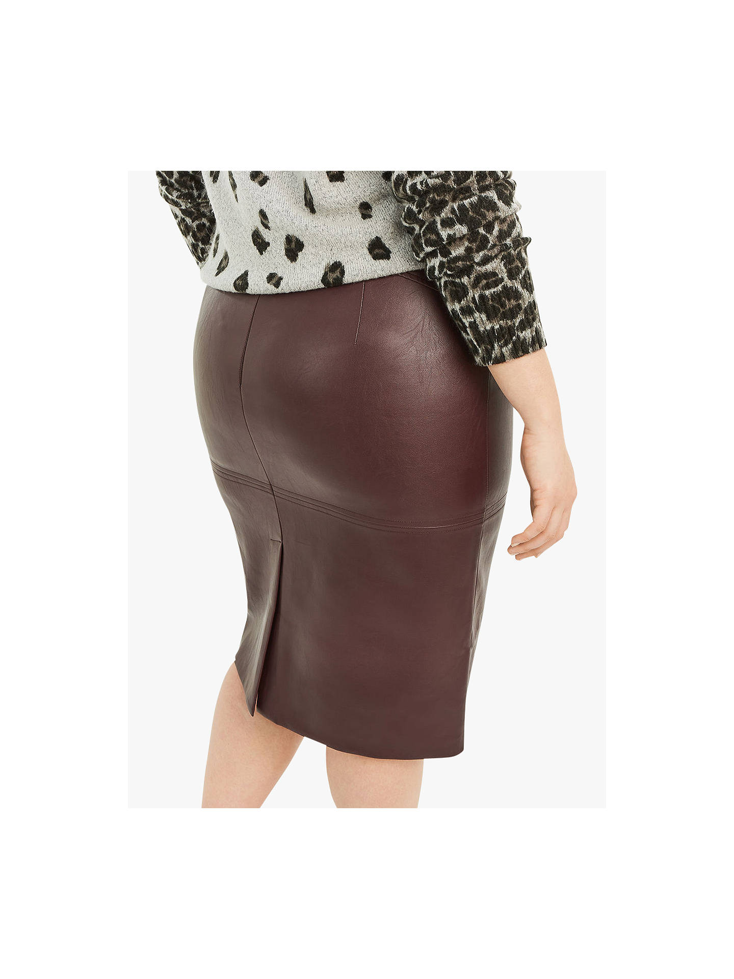Super discount new photos classic shoes Oasis Curve Faux Leather Pencil Skirt, Burgundy at John ...