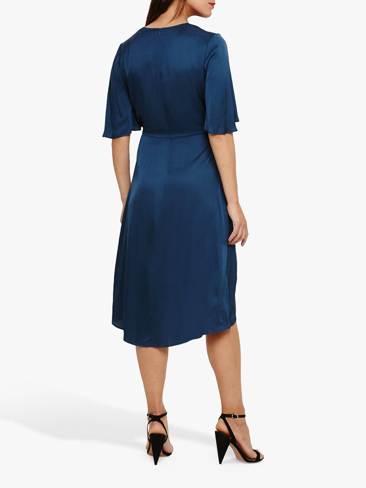 331d12cda072 Buy Phase Eight Rosina Fluted Knot Midi Dress, Petrol, 8 Online at  johnlewis.