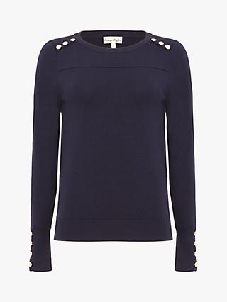 Phase Eight Stud Trim Knit Top, Navy