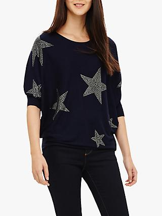 Phase Eight Becca Hotfix Knit Jumper, Navy