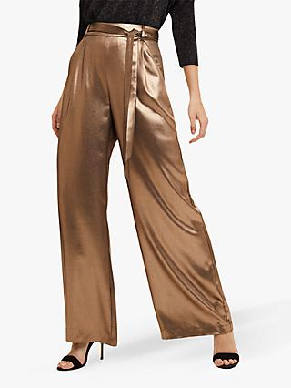 Phase Eight Keira Wide Leg Trousers, Gold