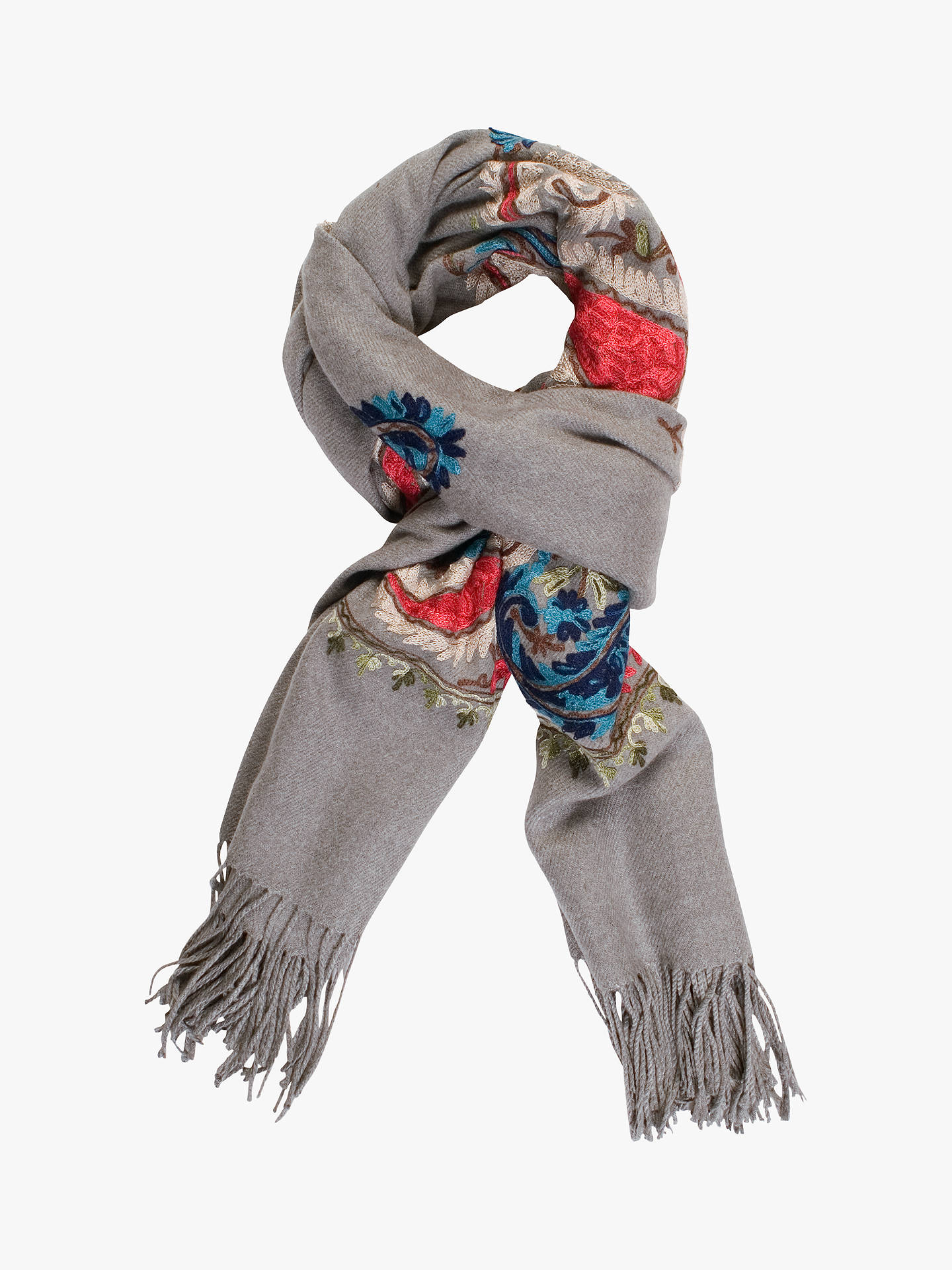 Buy Chesca Cashmere Blend Paisley Scarf, Grey/Multi, One Size Online at johnlewis.com