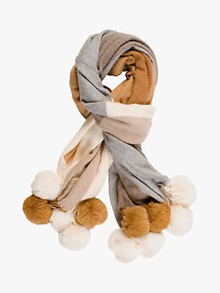Chesca Wrap Faux Pom Trim, Camel/Grey/Cream