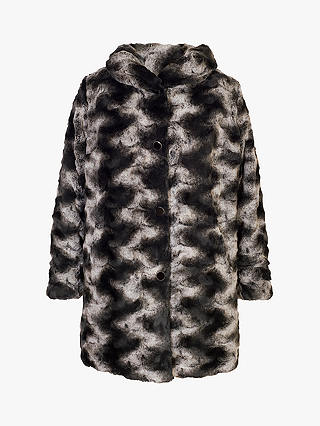 Buy Chesca Faux Fur Reversible Coat, Black/Charcoal, 12-14 Online at johnlewis.com
