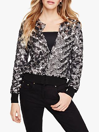 Damsel in a Dress Oretta Sequin Bomber Jacket, Gunmetal