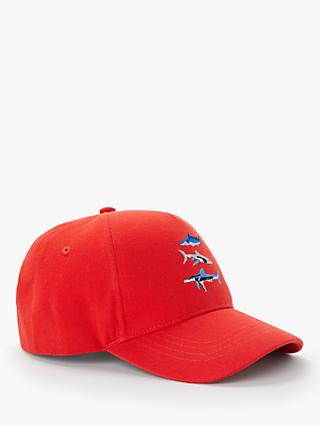 John Lewis & Partners Children's Shark Cap Hat, Red