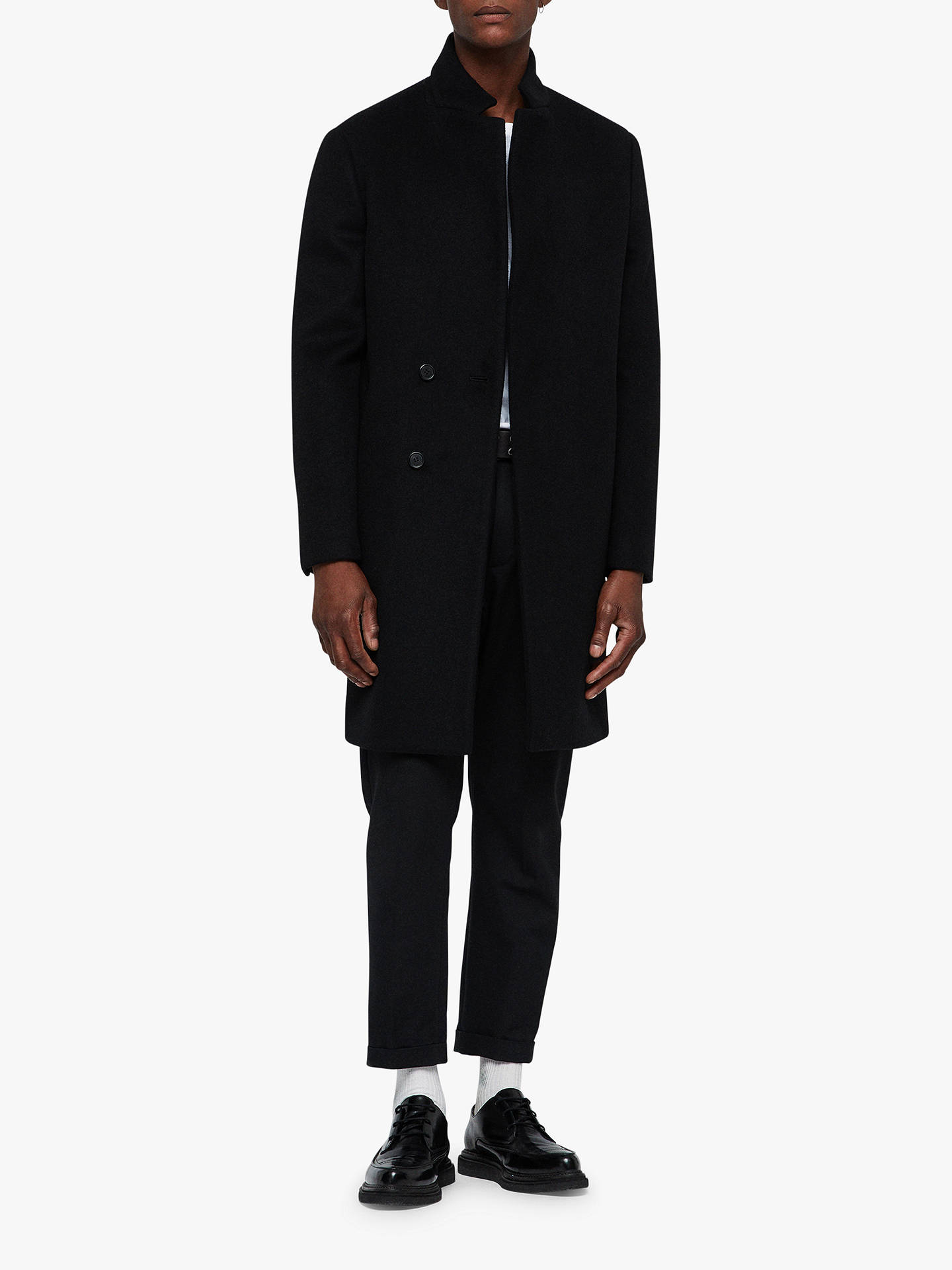 attractive & durable order quality design AllSaints Dowth Coat | Black at John Lewis & Partners