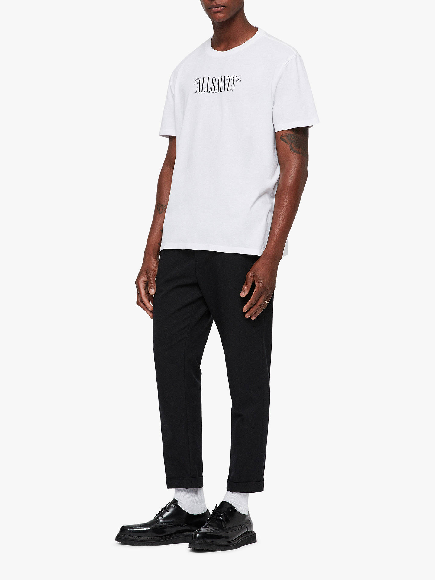 BuyAllSaints Brackets Short Sleeve Logo T-Shirt, Optic White/Black, L Online at johnlewis.com