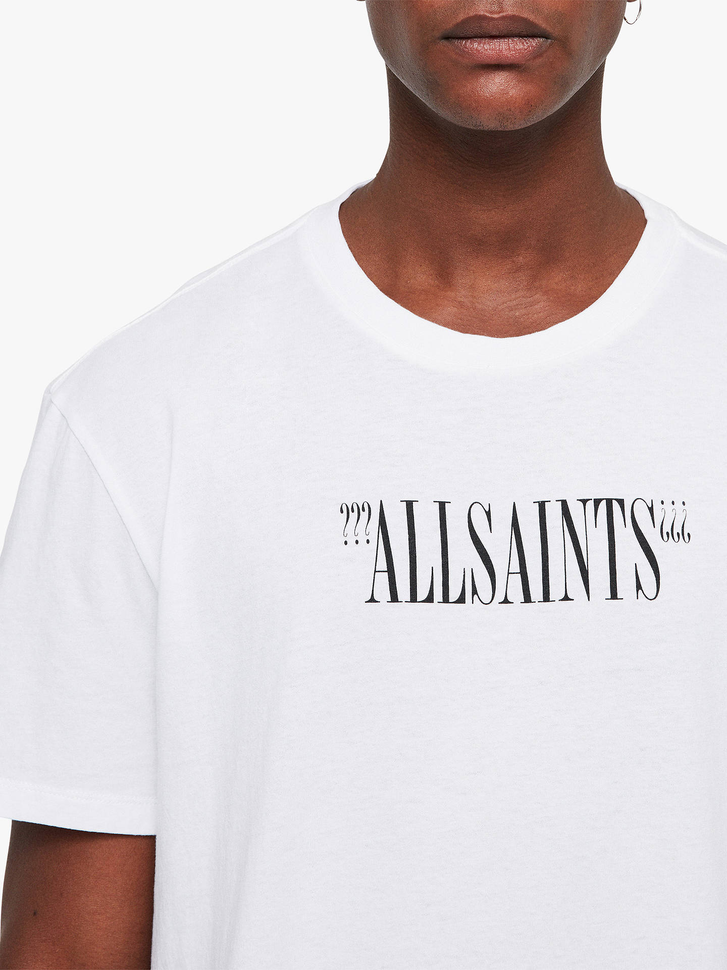 Buy AllSaints Brackets Short Sleeve Logo T-Shirt, Optic White/Black, L Online at johnlewis.com