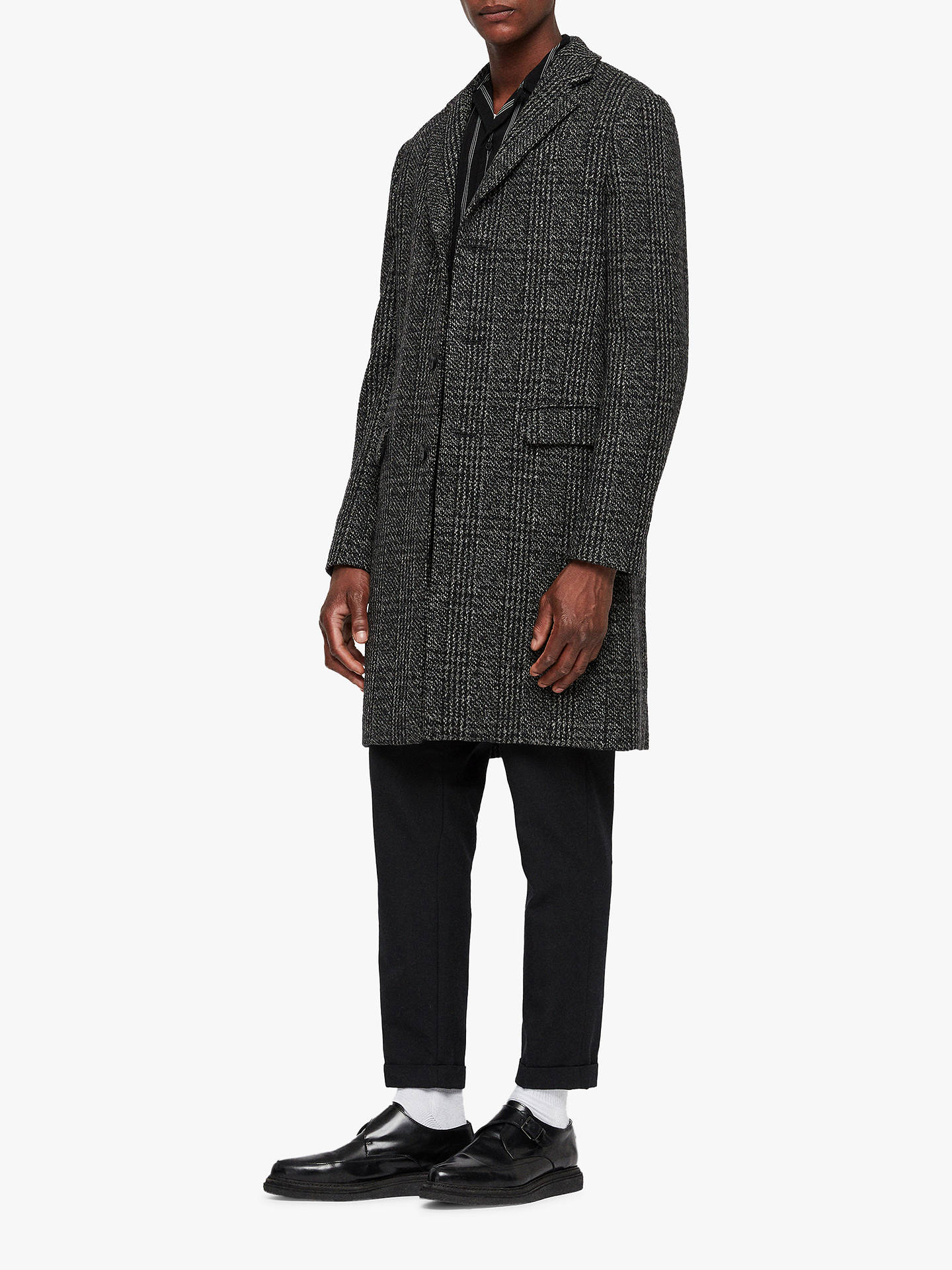 Buy AllSaints Dowell Herringbone Wool Coat, Black/Charcoal, 34R Online at johnlewis.com