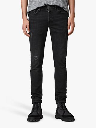 AllSaints Rex Straight Skinny Fit Jeans, Washed Black