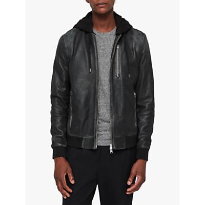 Image of AllSaints Abbot Bomber Hooded Leather Jacket, Black/Grey