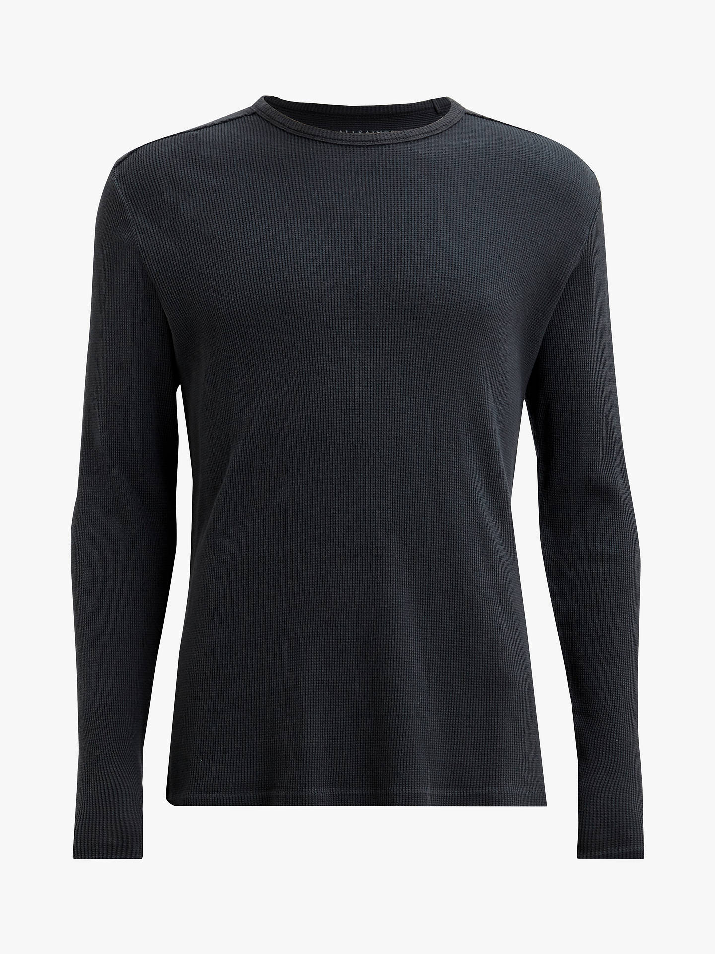 BuyAllSaints Cortex Coverstitch Waffle Texture T-Shirt, Black, XS Online at johnlewis.com