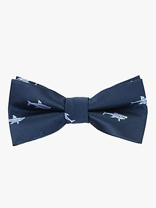John Lewis & Partners Heirloom Collection Boys' Shark Print Bow Tie, Blue