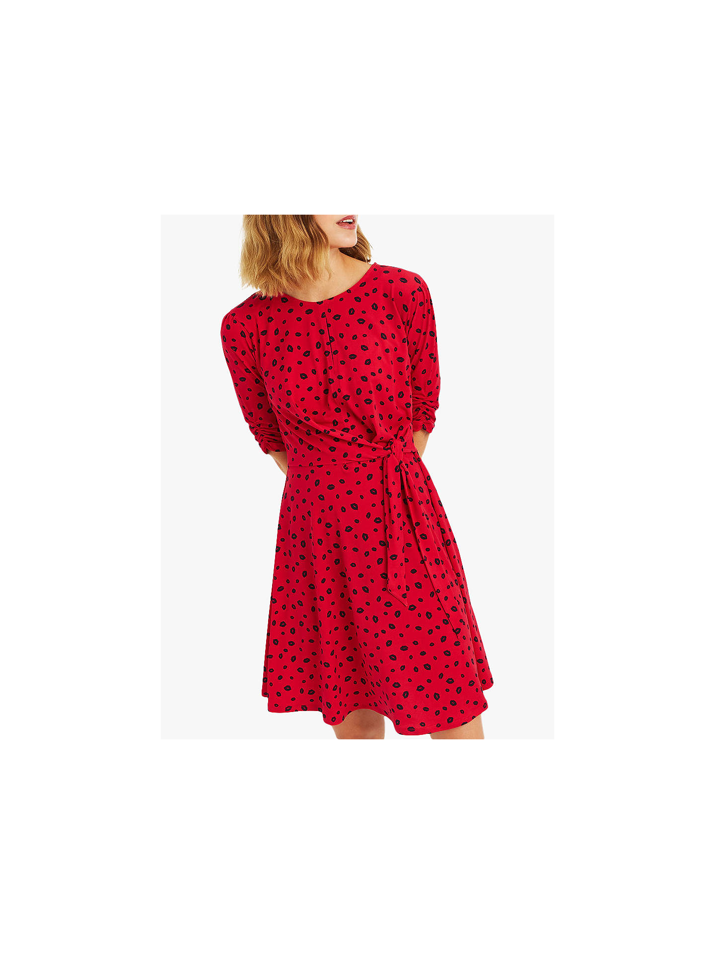 51560fbe4b2a Buy Oasis Lip Print Ruffle Dress, Red, L Online at johnlewis.com ...