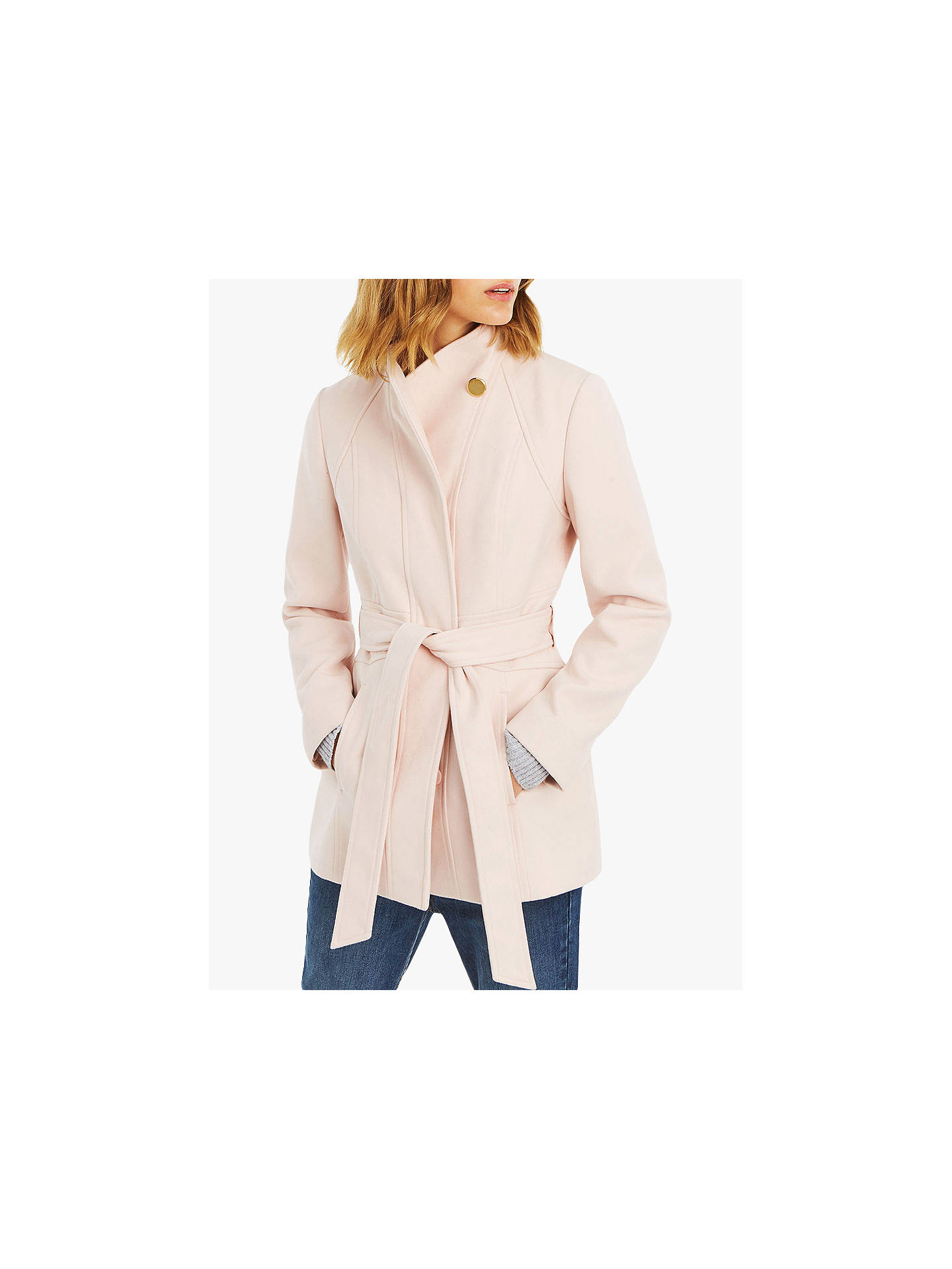 ba65e1f8562a Buy Oasis Hazel Fitted Coat, Pale Pink, S Online at johnlewis.com ...
