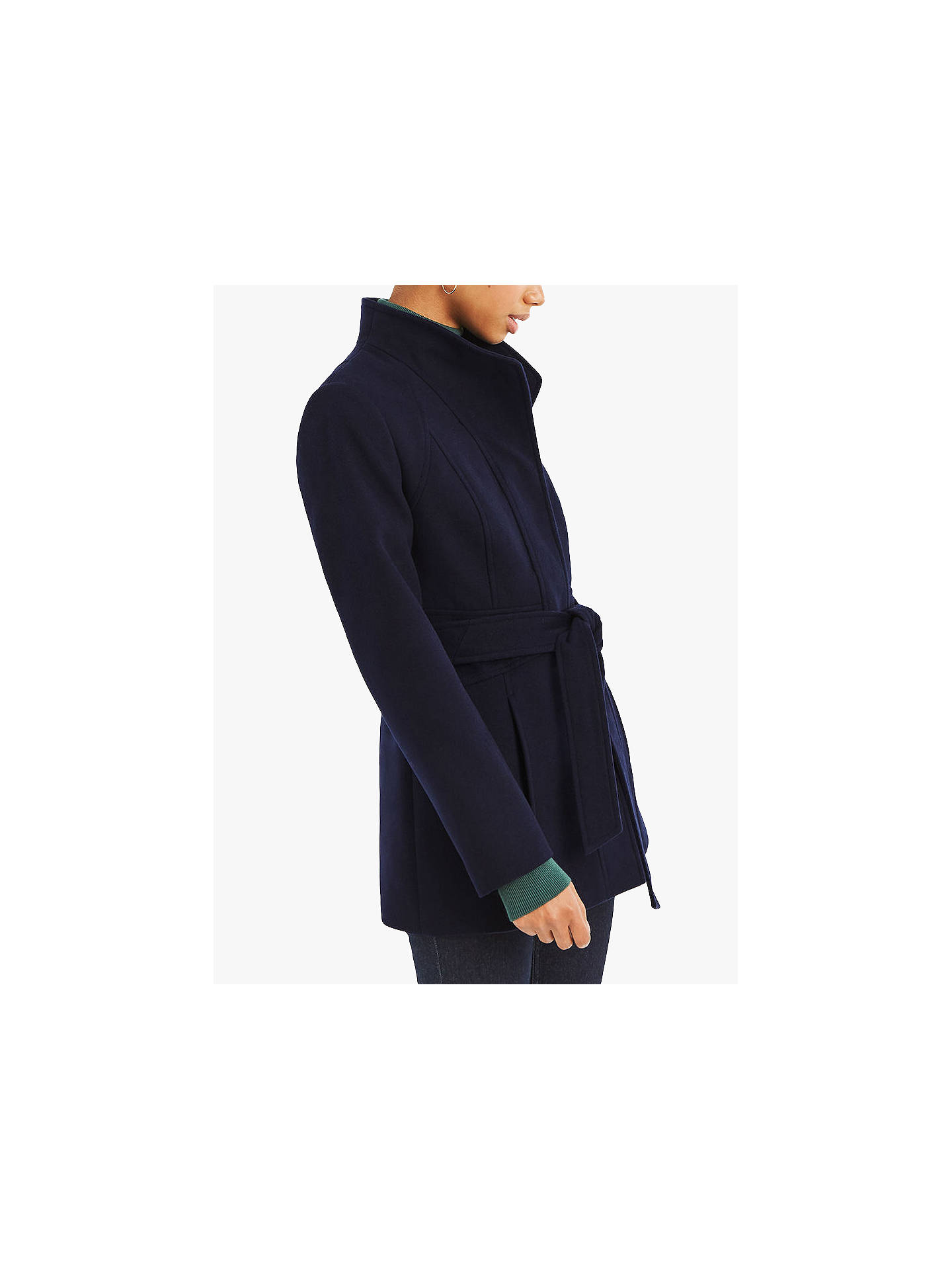 02a8727adad4 Buy Oasis Panel Fitted Coat, Navy, S Online at johnlewis.com ...