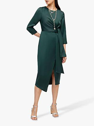 Warehouse Satin Twist Knot Midi Dress, Dark Green