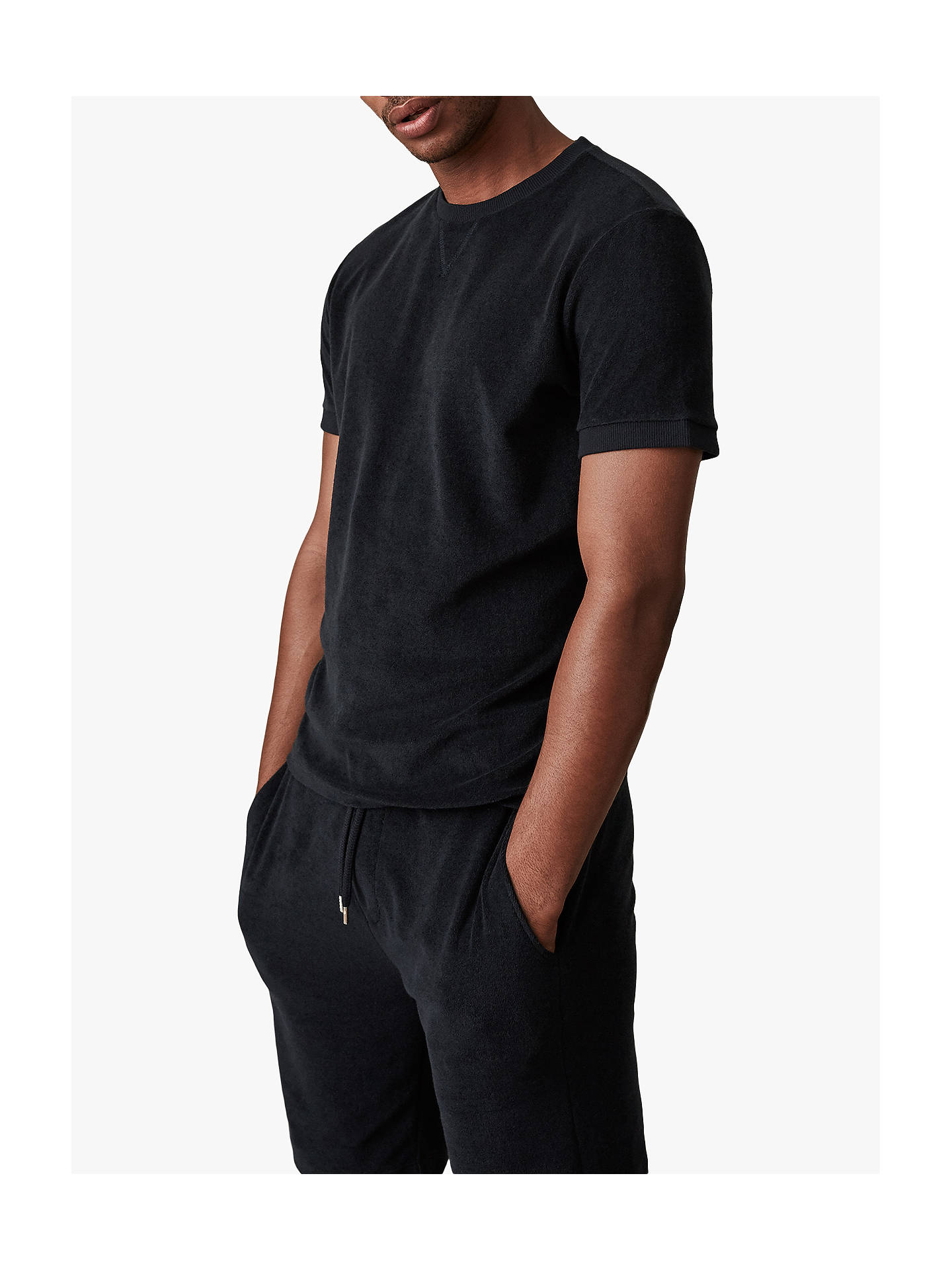 Buy Reiss Terry Towelling Crew Neck T-Shirt, Navy, XXL Online at johnlewis.com