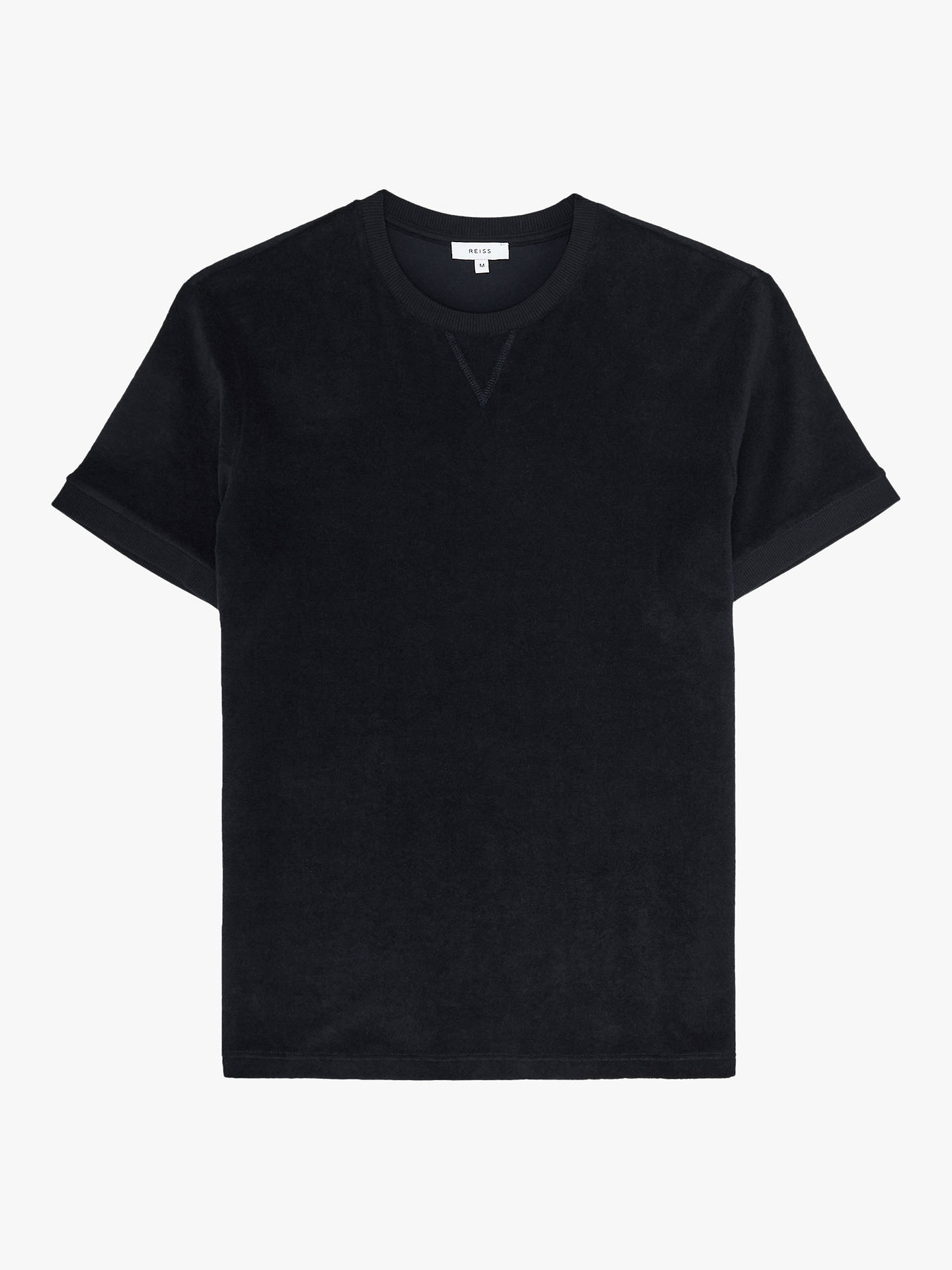 Buy Reiss Terry Towelling Crew Neck T-Shirt, Navy, S Online at johnlewis.com