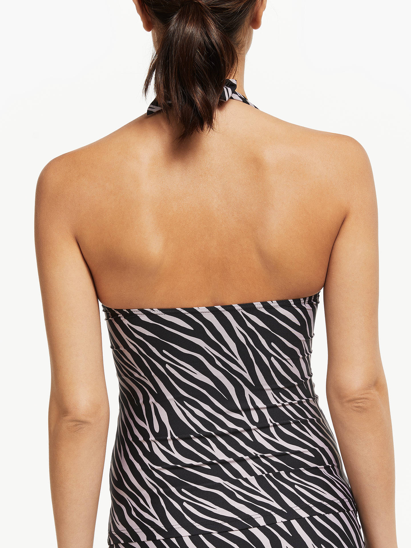 Buy John Lewis & Partners Zizi Animal Tie Front Tankini Top, Black/Taupe, 8 Online at johnlewis.com